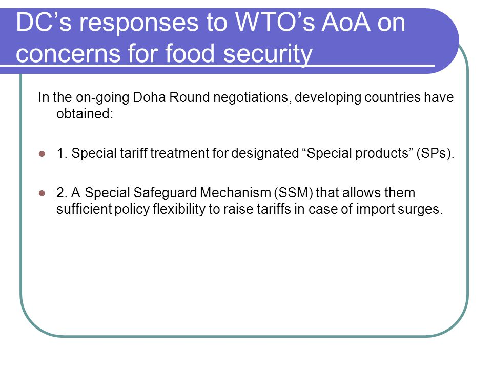 DC's responses to WTO's AoA on concerns for food security