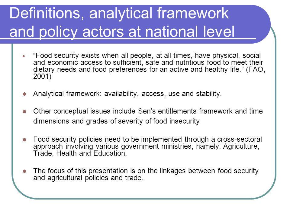 Definitions, analytical framework and policy actors at national level