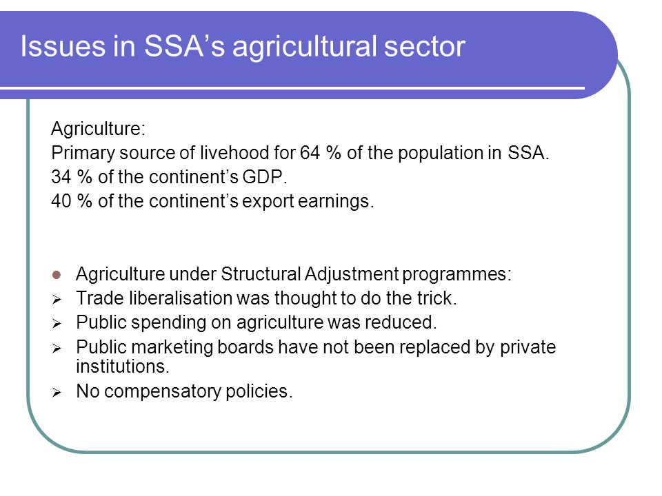 Issues in SSA's agricultural sector