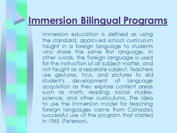 Immersion Bilingual Programs