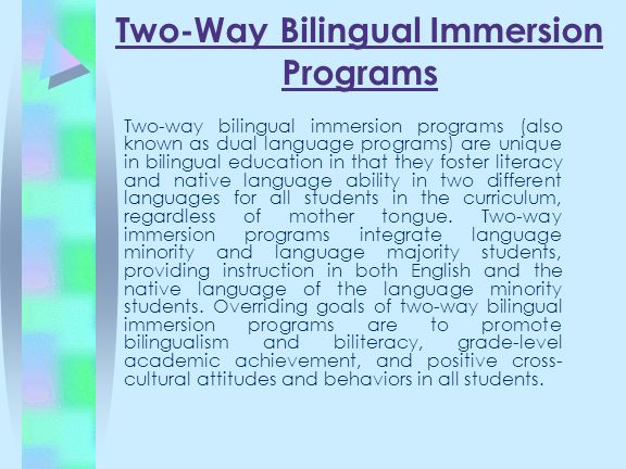 Two-Way Bilingual Immersion Programs