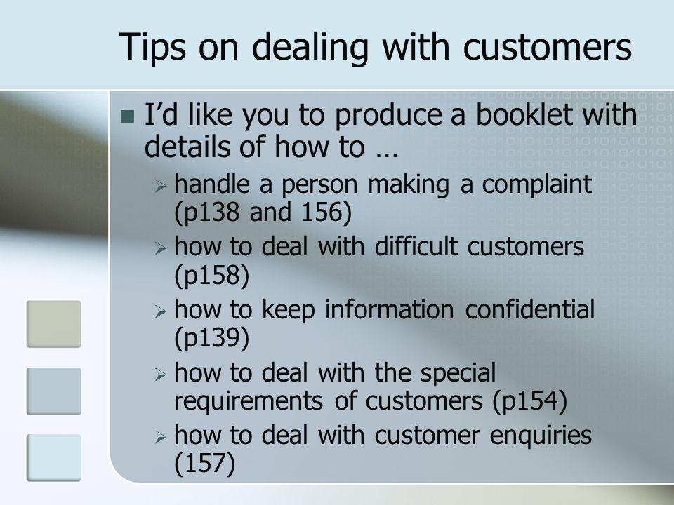 Tips on dealing with customers