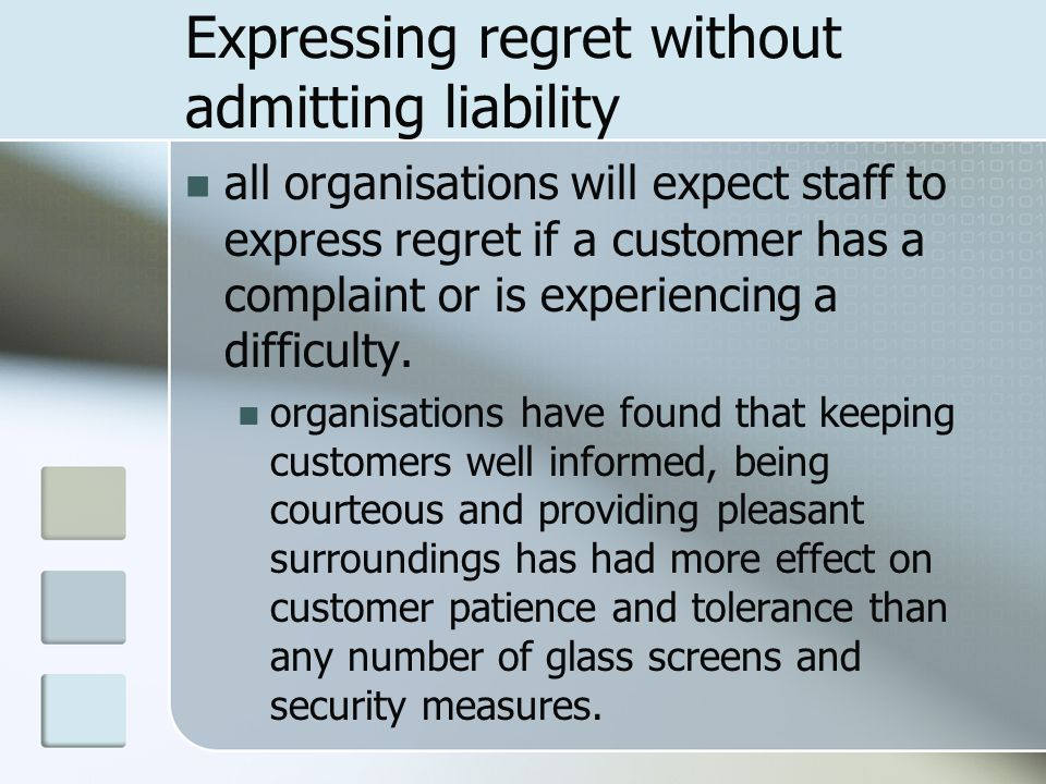 Expressing regret without admitting liability