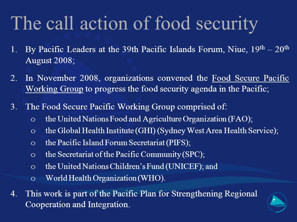 The call action of food security