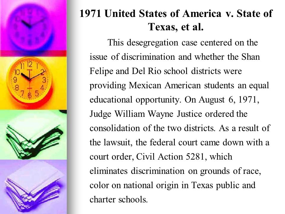 1971 United States of America v. State of Texas, et al.