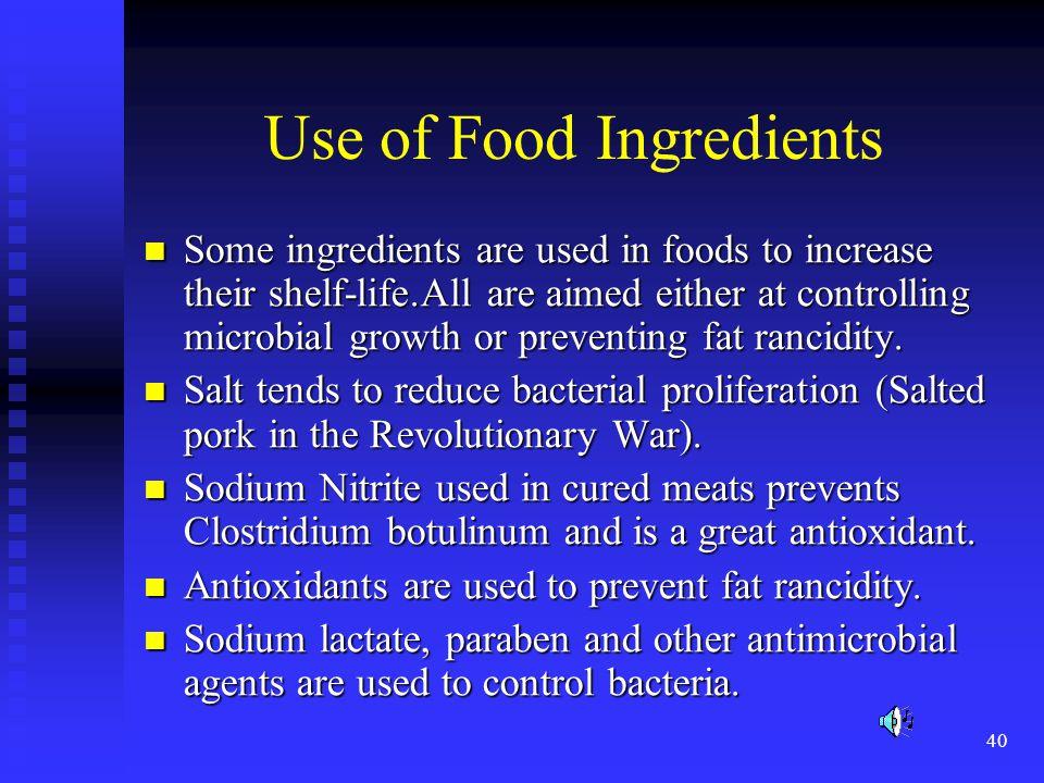 Use of Food Ingredients