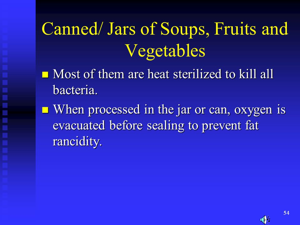Canned/ Jars of Soups, Fruits and Vegetables