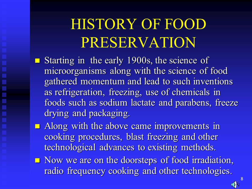 HISTORY OF FOOD PRESERVATION
