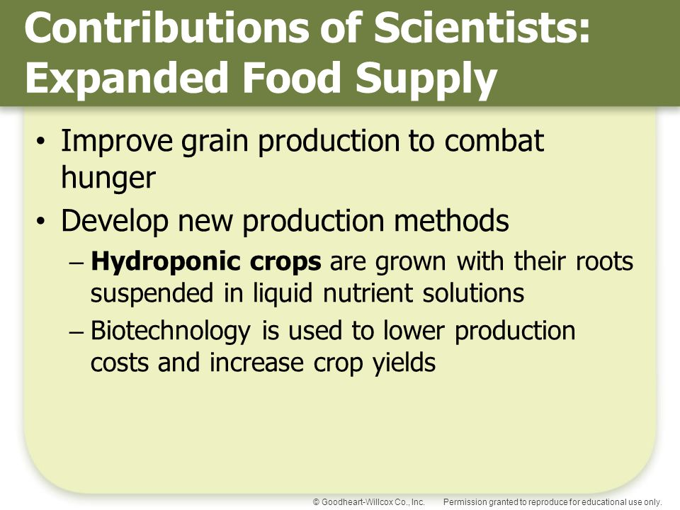Contributions of Scientists: Expanded Food Supply