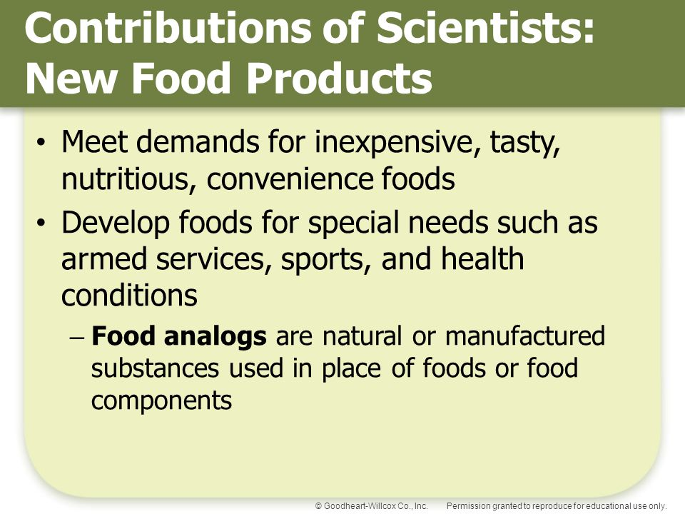 Contributions of Scientists: New Food Products