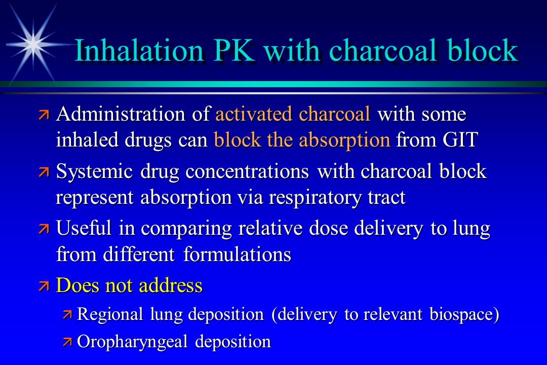 Inhalation PK with charcoal block