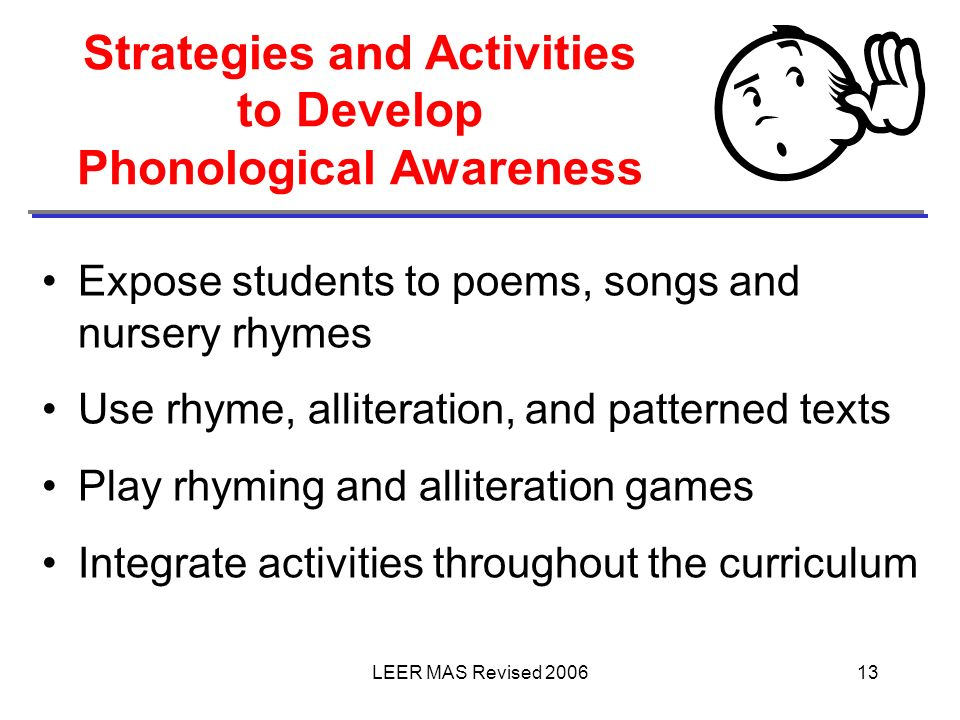 Strategies and Activities to Develop Phonological Awareness