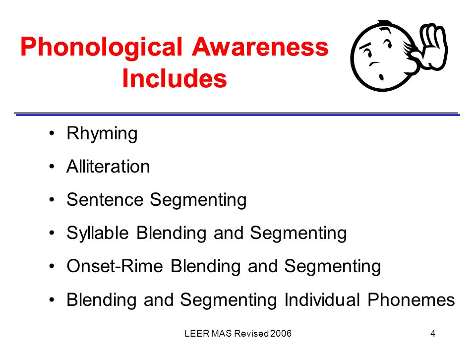 Phonological Awareness Includes Phonological Awareness Includes