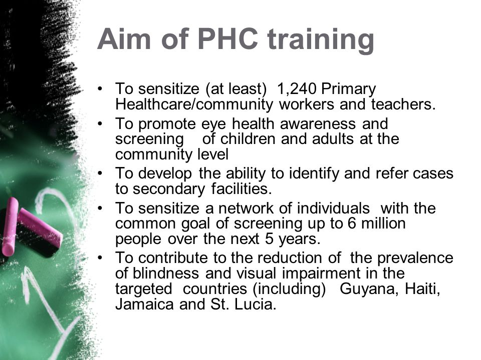 Aim of PHC training To sensitize (at least) 1,240 Primary Healthcare/community workers and teachers.