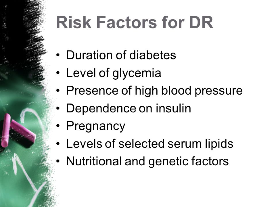 Risk Factors for DR Duration of diabetes Level of glycemia