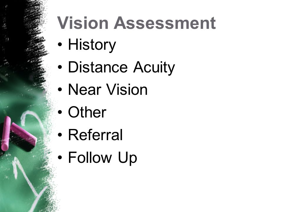 Vision Assessment History Distance Acuity Near Vision Other Referral