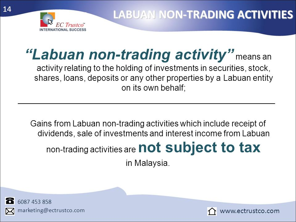 14 LABUAN NON-TRADING ACTIVITIES.