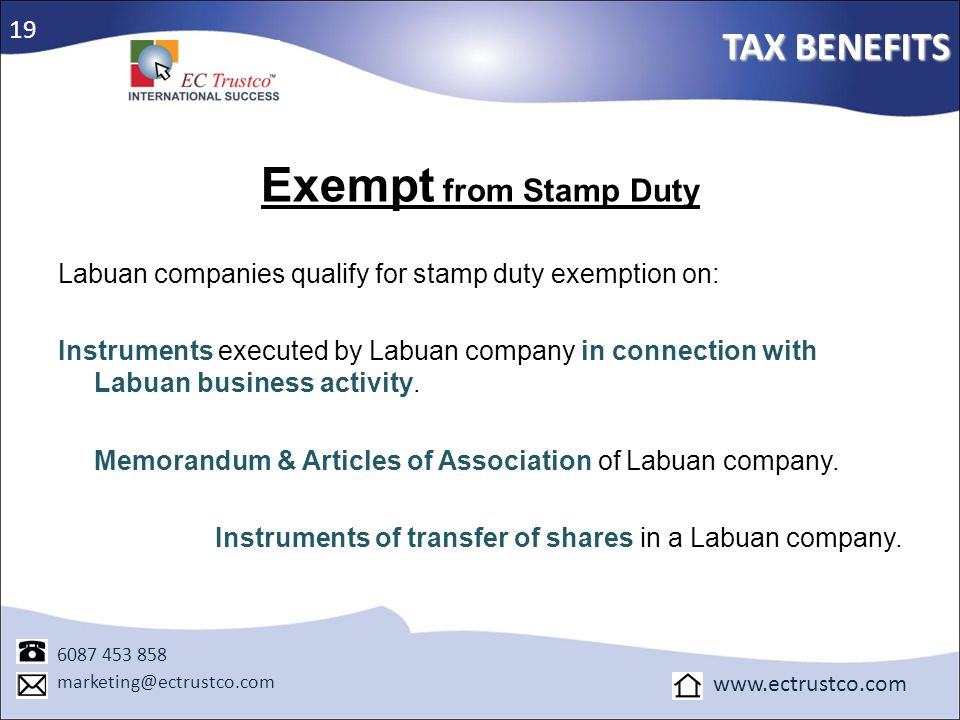 Exempt from Stamp Duty TAX BENEFITS 19
