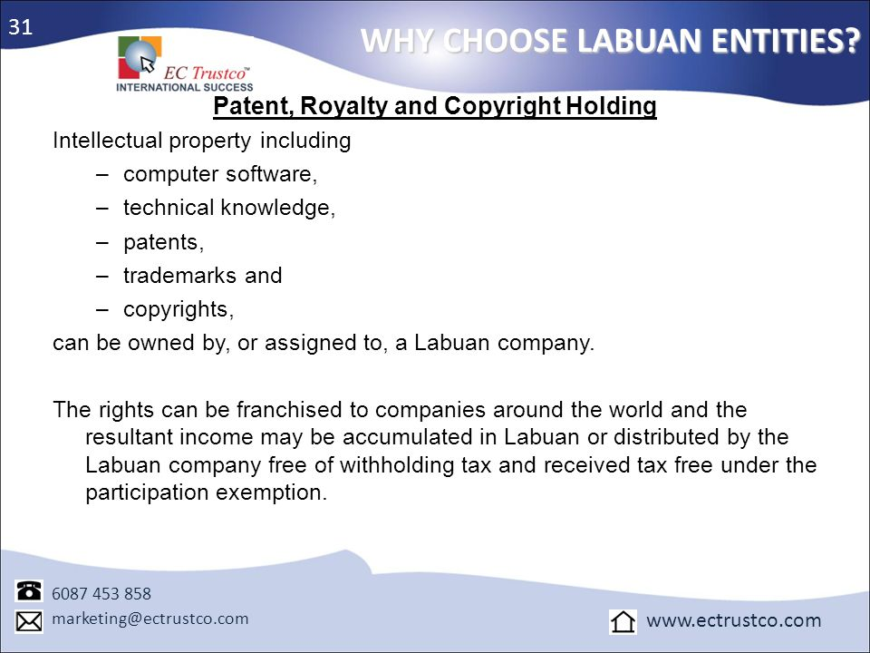 Patent, Royalty and Copyright Holding
