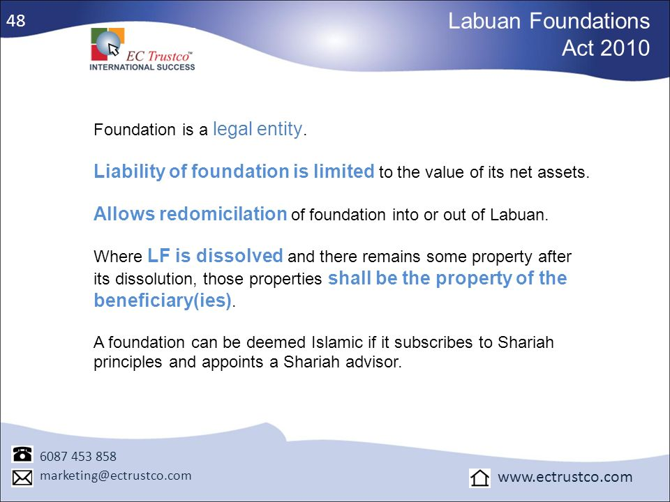 Labuan Foundations Act 2010 48