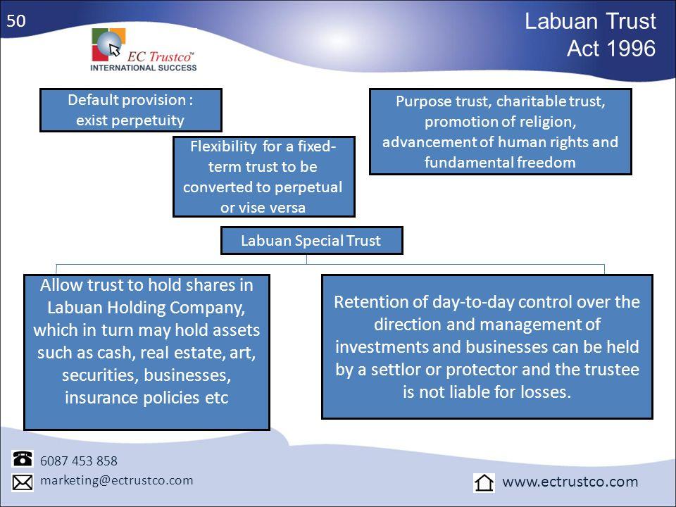 50 Labuan Trust. Act 1996. Default provision : exist perpetuity.