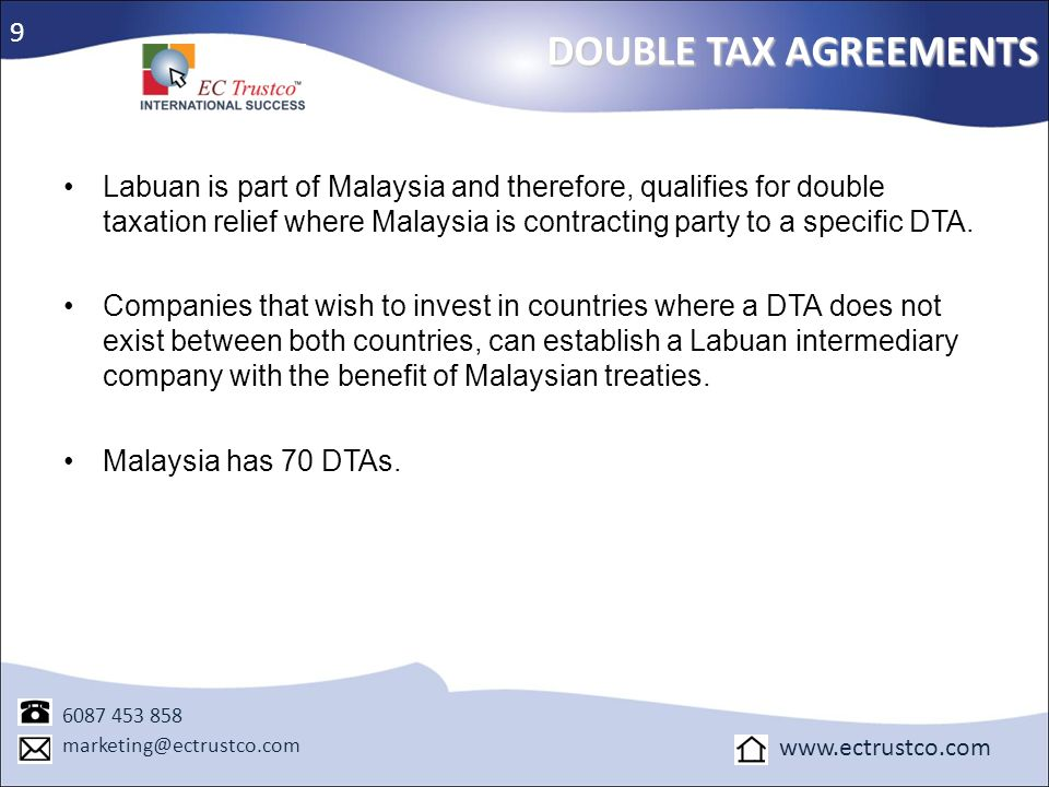9 DOUBLE TAX AGREEMENTS.