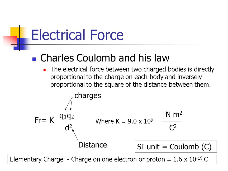 Electrical Force Charles Coulomb and his law q1q2 charges N m2 FE= K