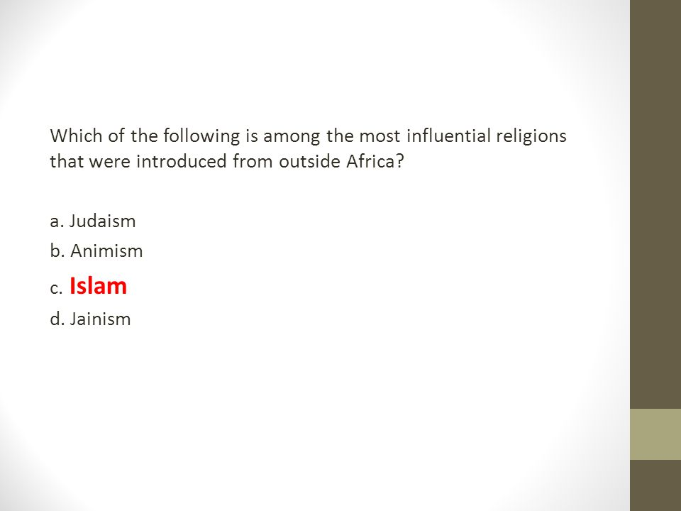 Which of the following is among the most influential religions that were introduced from outside Africa