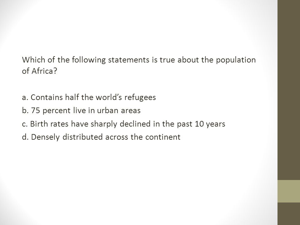 Which of the following statements is true about the population of Africa