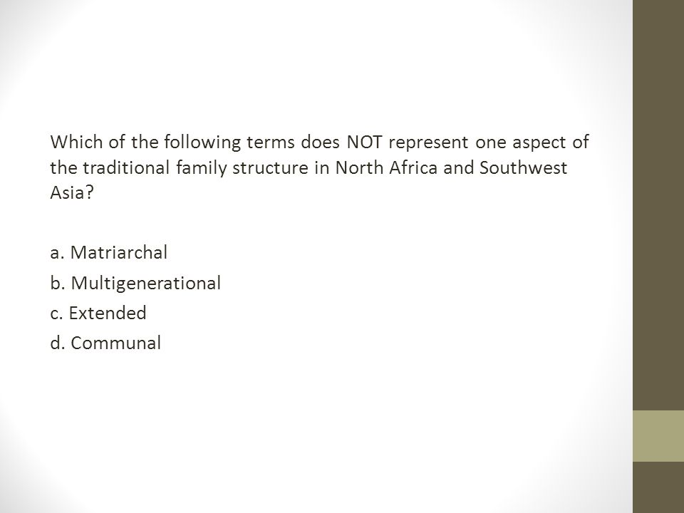 Which of the following terms does NOT represent one aspect of the traditional family structure in North Africa and Southwest Asia