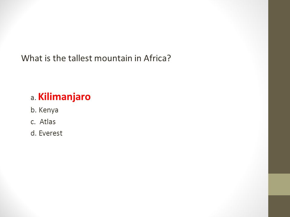 What is the tallest mountain in Africa