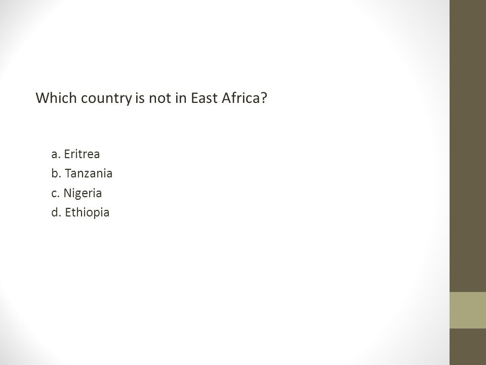 Which country is not in East Africa