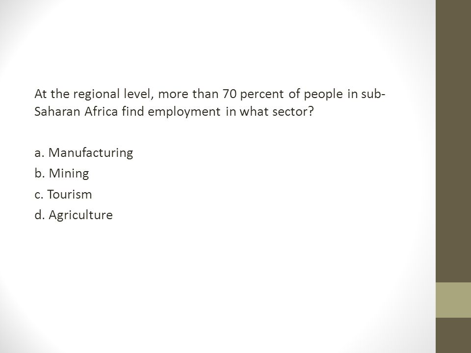 At the regional level, more than 70 percent of people in sub-Saharan Africa find employment in what sector