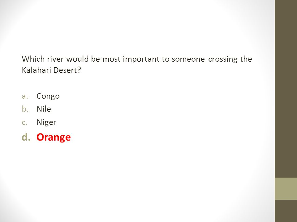 Which river would be most important to someone crossing the Kalahari Desert