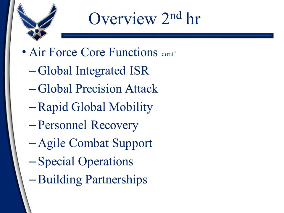 Overview 2nd hr Air Force Core Functions cont' Global Integrated ISR