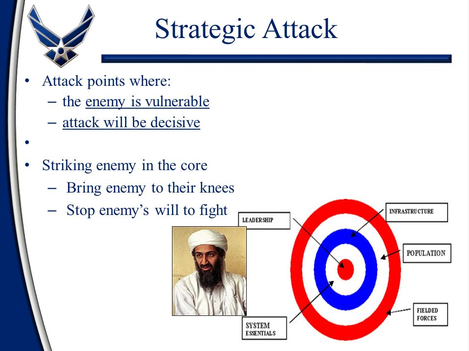 Strategic Attack Attack points where: the enemy is vulnerable