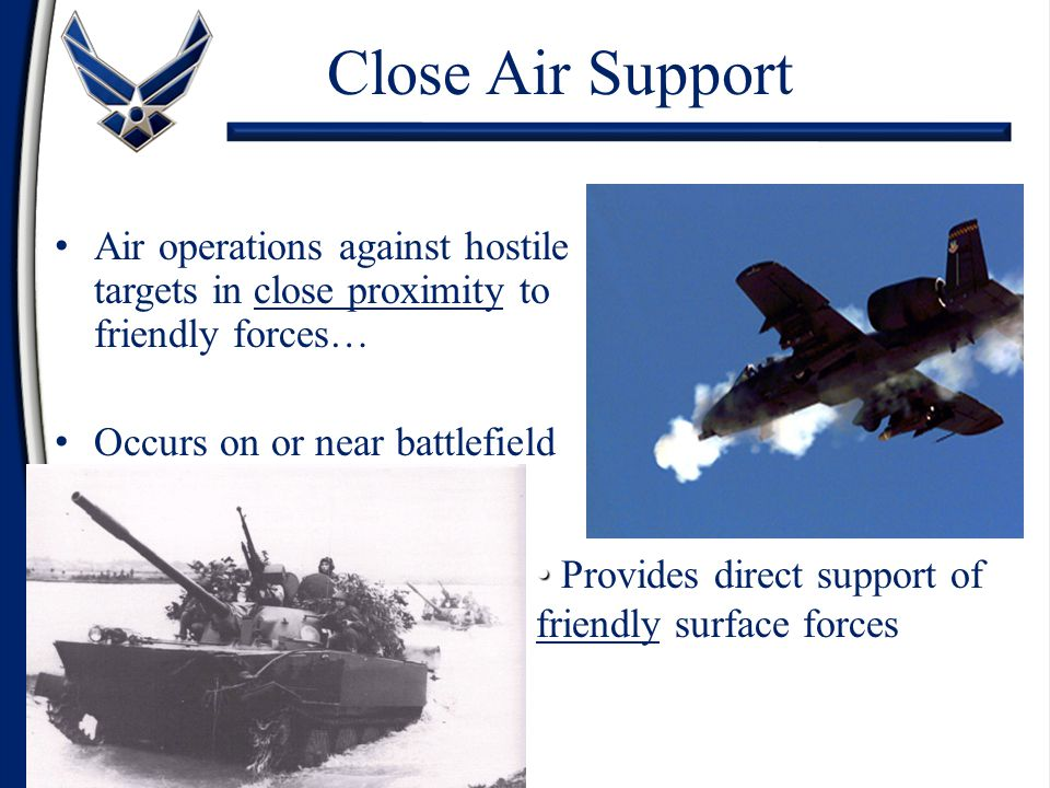 Close Air Support Air operations against hostile targets in close proximity to friendly forces… Occurs on or near battlefield.