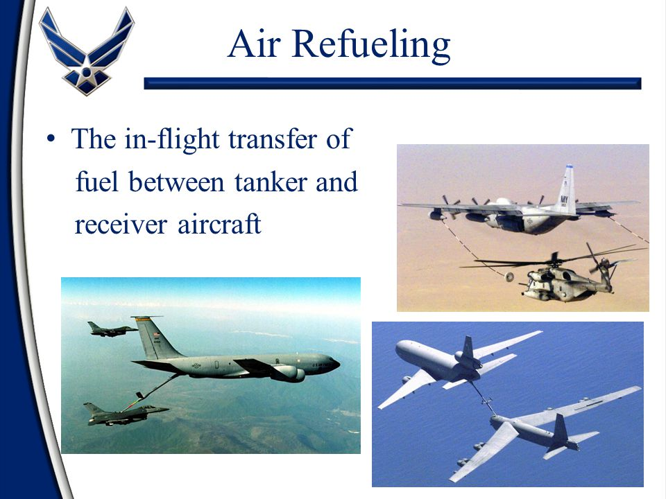 Air Refueling The in-flight transfer of fuel between tanker and