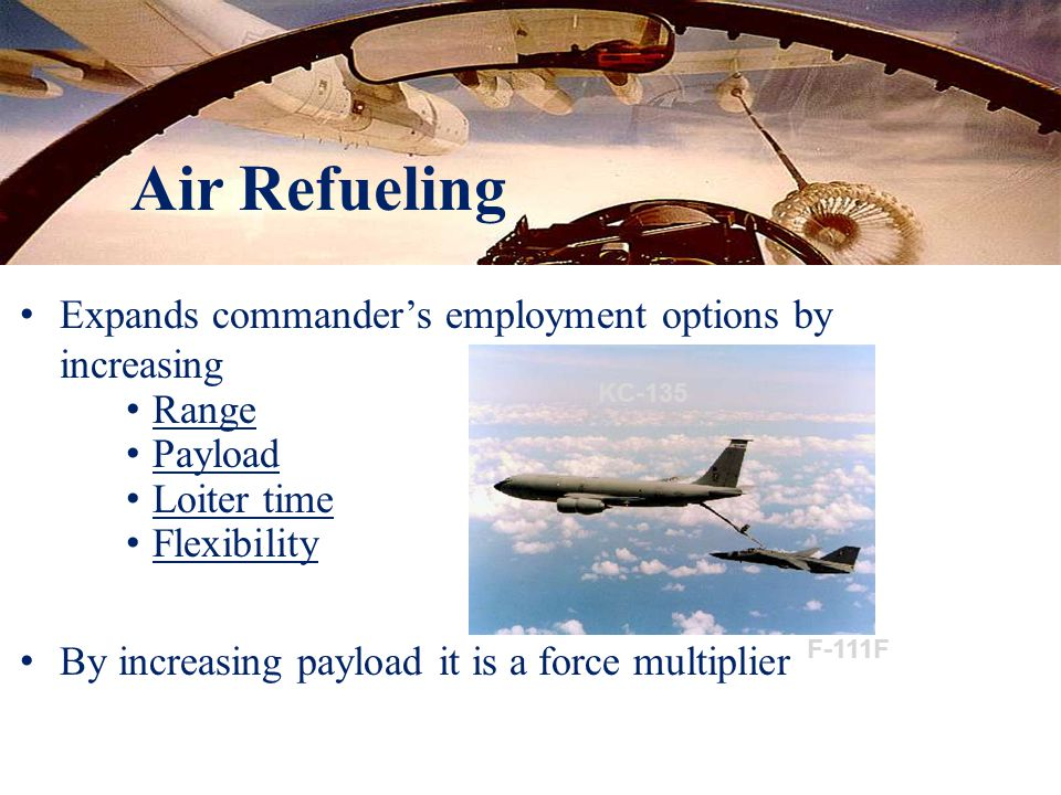 Air Refueling Expands commander's employment options by increasing