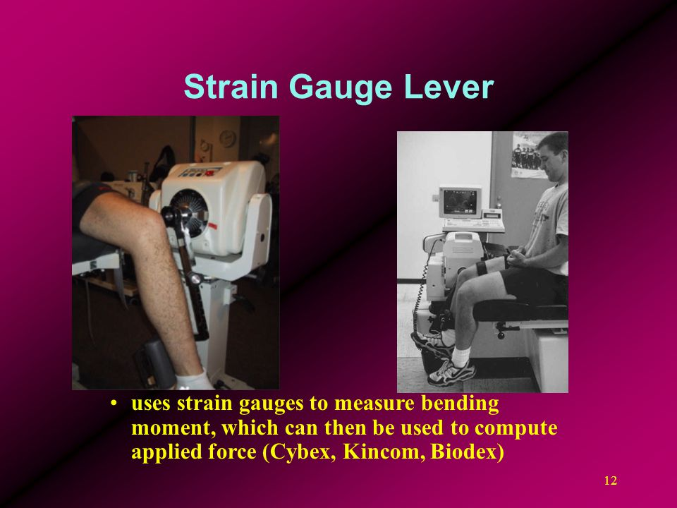 Strain Gauge Lever uses strain gauges to measure bending moment, which can then be used to compute applied force (Cybex, Kincom, Biodex)