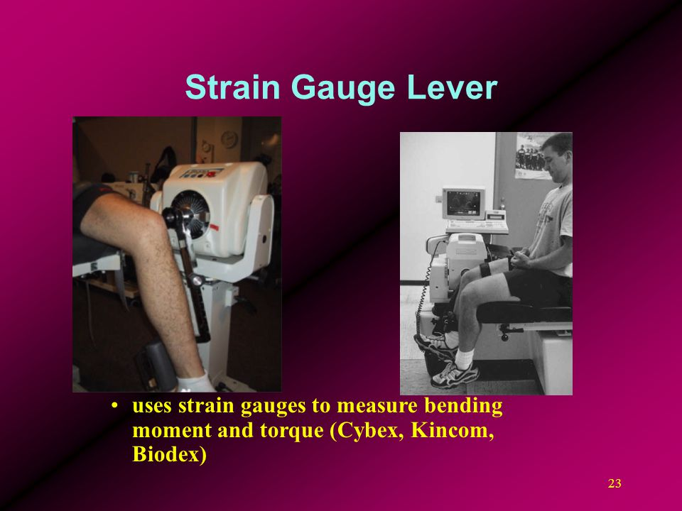 Strain Gauge Lever uses strain gauges to measure bending moment and torque (Cybex, Kincom, Biodex)