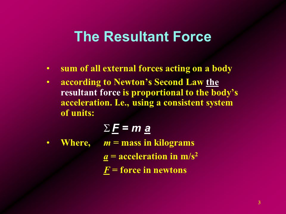 The Resultant Force F = m a