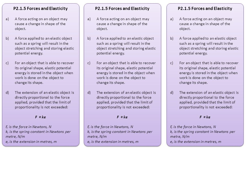 P2.1.5 Forces and Elasticity P2.1.5 Forces and Elasticity