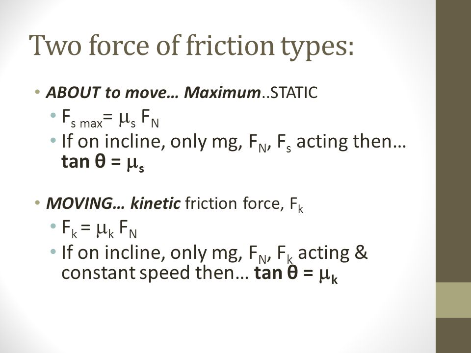 Two force of friction types: