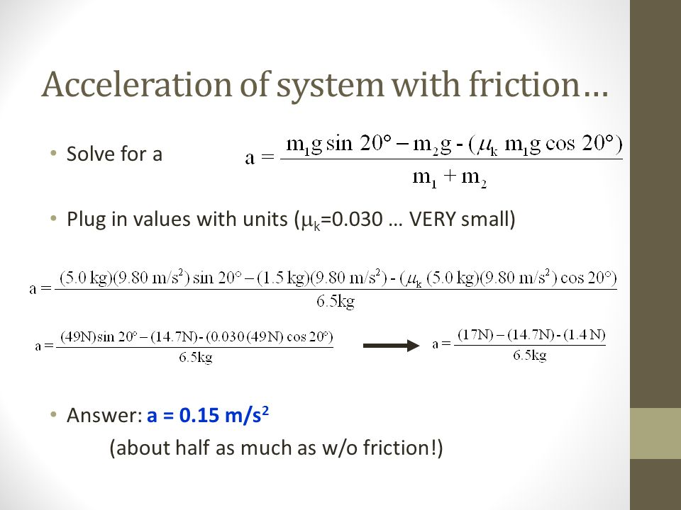 Acceleration of system with friction…