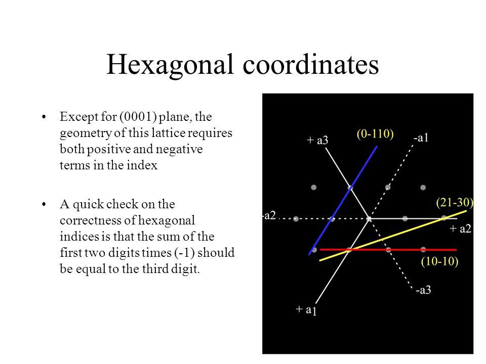 Hexagonal coordinates