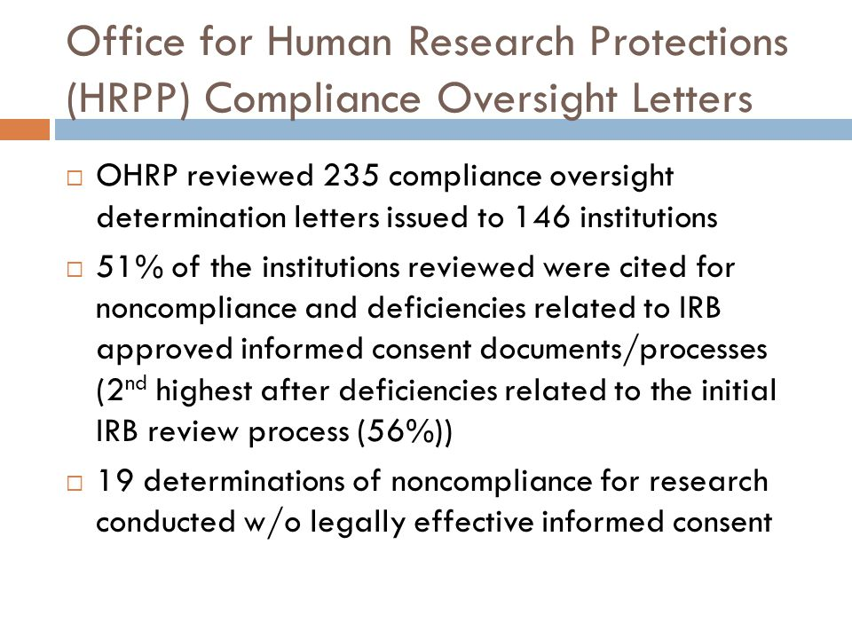 Office for Human Research Protections (HRPP) Compliance Oversight Letters