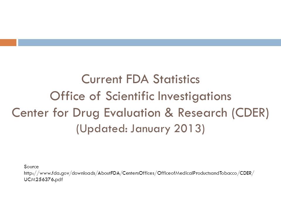 Current FDA Statistics Office of Scientific Investigations Center for Drug Evaluation & Research (CDER) (Updated: January 2013)