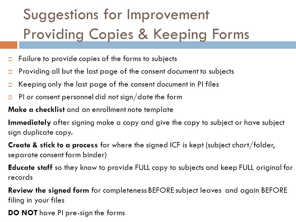 Suggestions for Improvement Providing Copies & Keeping Forms
