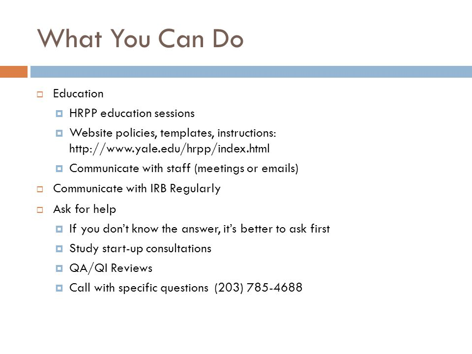 What You Can Do Education HRPP education sessions